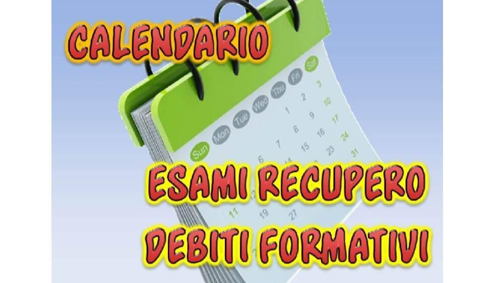 Calendario esami recupero debiti