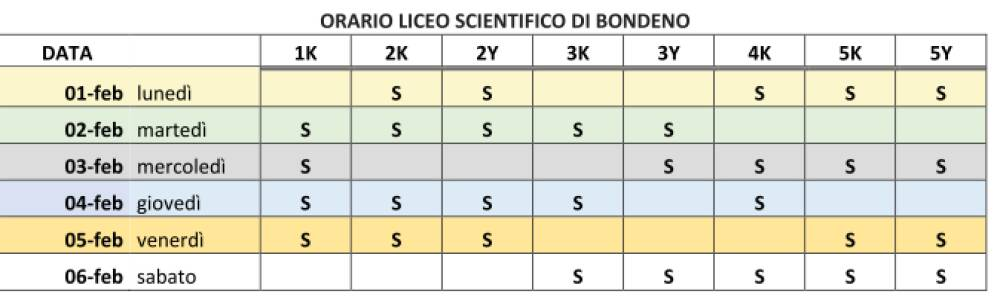 ORARIO LICEO SCIENTIFICO DI BONDENO