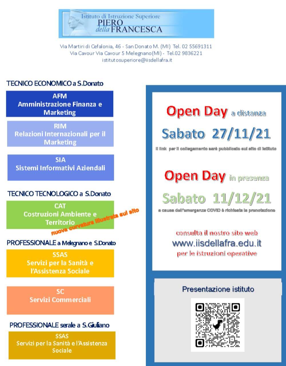 Volantino Open Day 2021-22