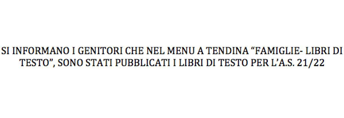 PUBBLICAZIONE LIBRI DI TESTO A.S. 21/22