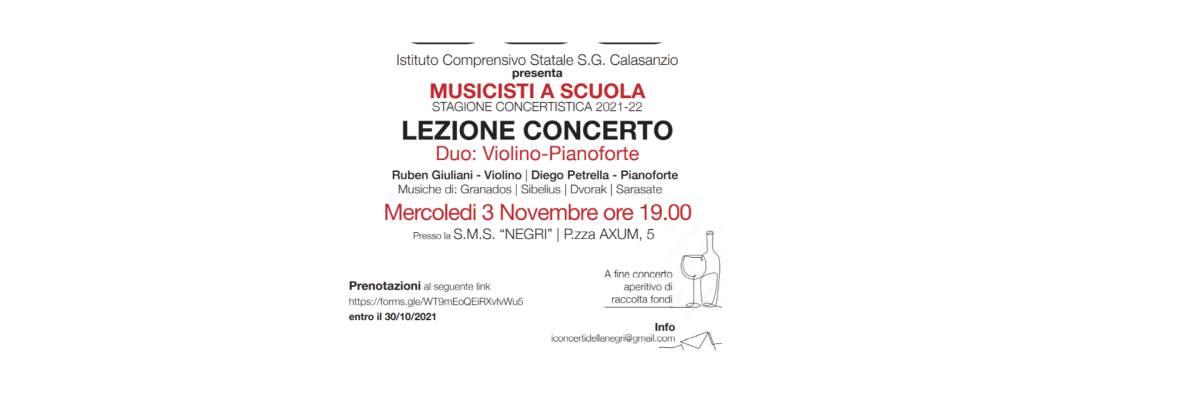 LEZIONE CONCERTO MERCOLEDI' 3 NOVEMBRE