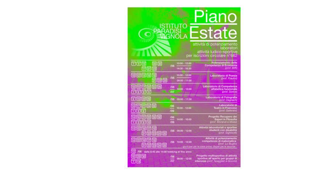 Piano estate Paradisi