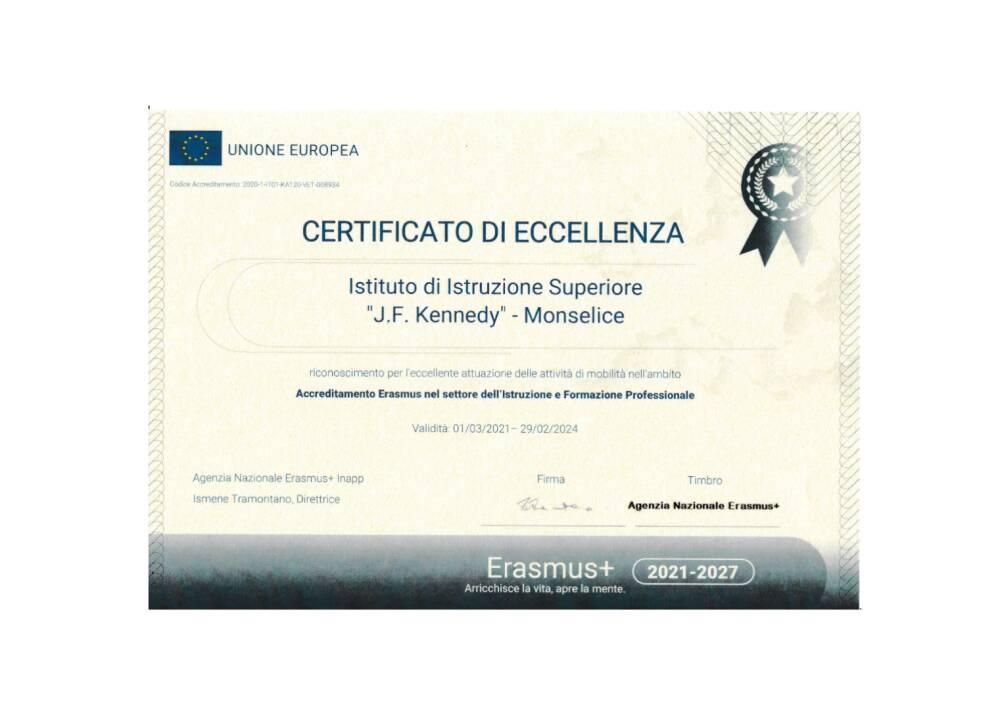 certificato eccellenza 2021
