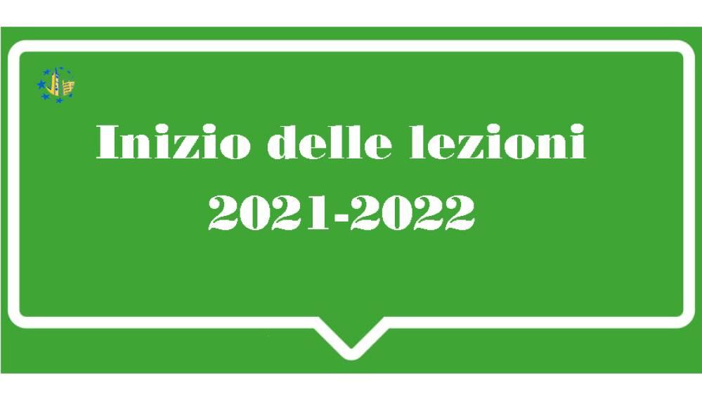 Inizio delle lezioni 2021-2022