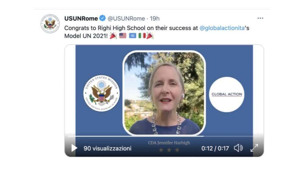 Twitter USUNRome Messaggio USA