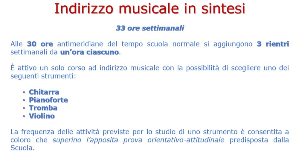 Indirizzo musicale in sintesi