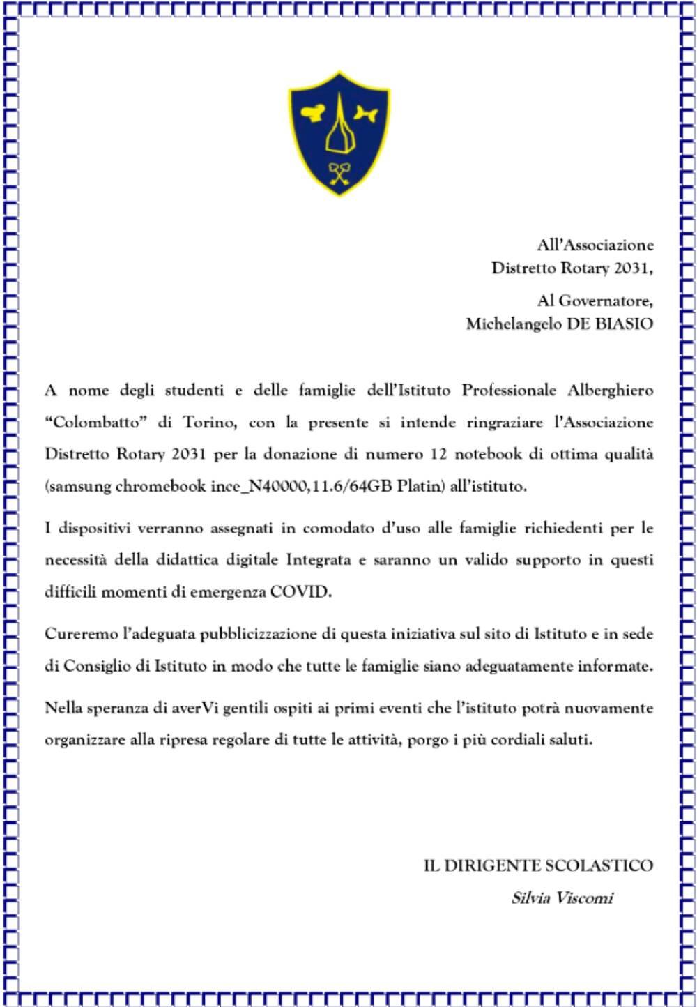 Ringraziamento Rotary