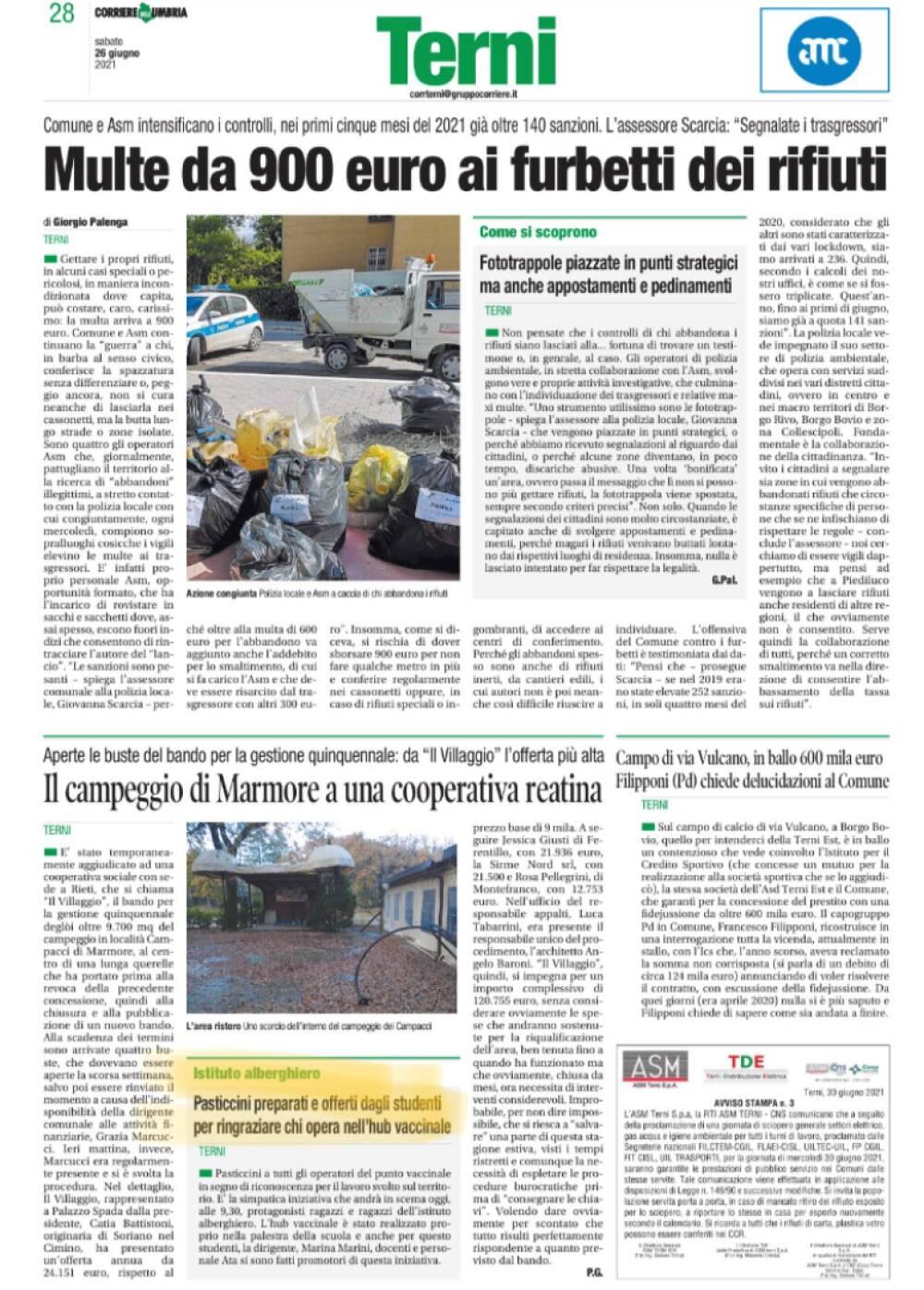 Dal corriere dell'Umbria 28 giugno 2021