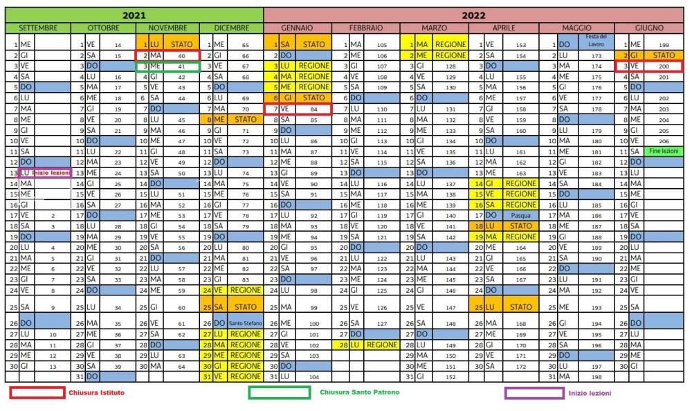 Calendario a.s. 2021/2022