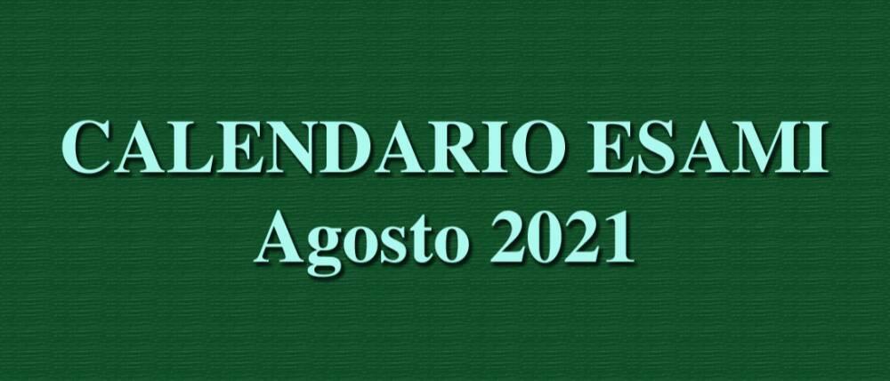 calendario  esami agosto