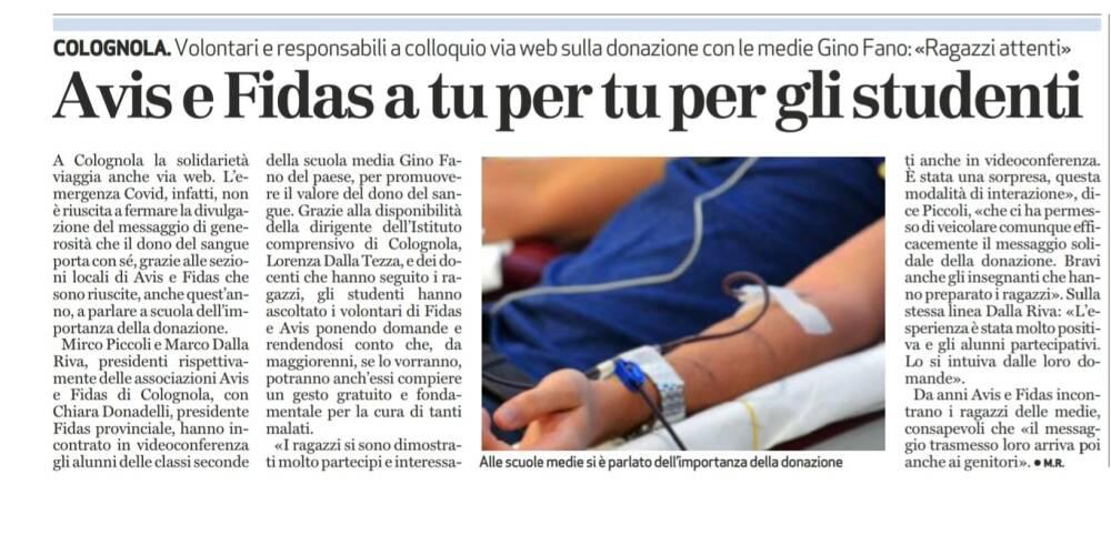 Avis e Fidas articolo giornale