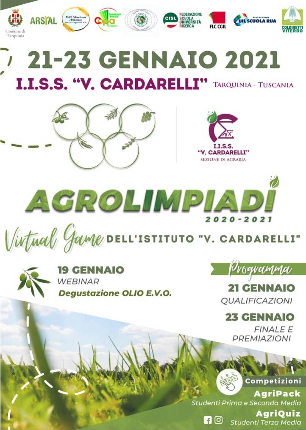 Locandina del Programma delle AgrOlimpiadi 2020/21