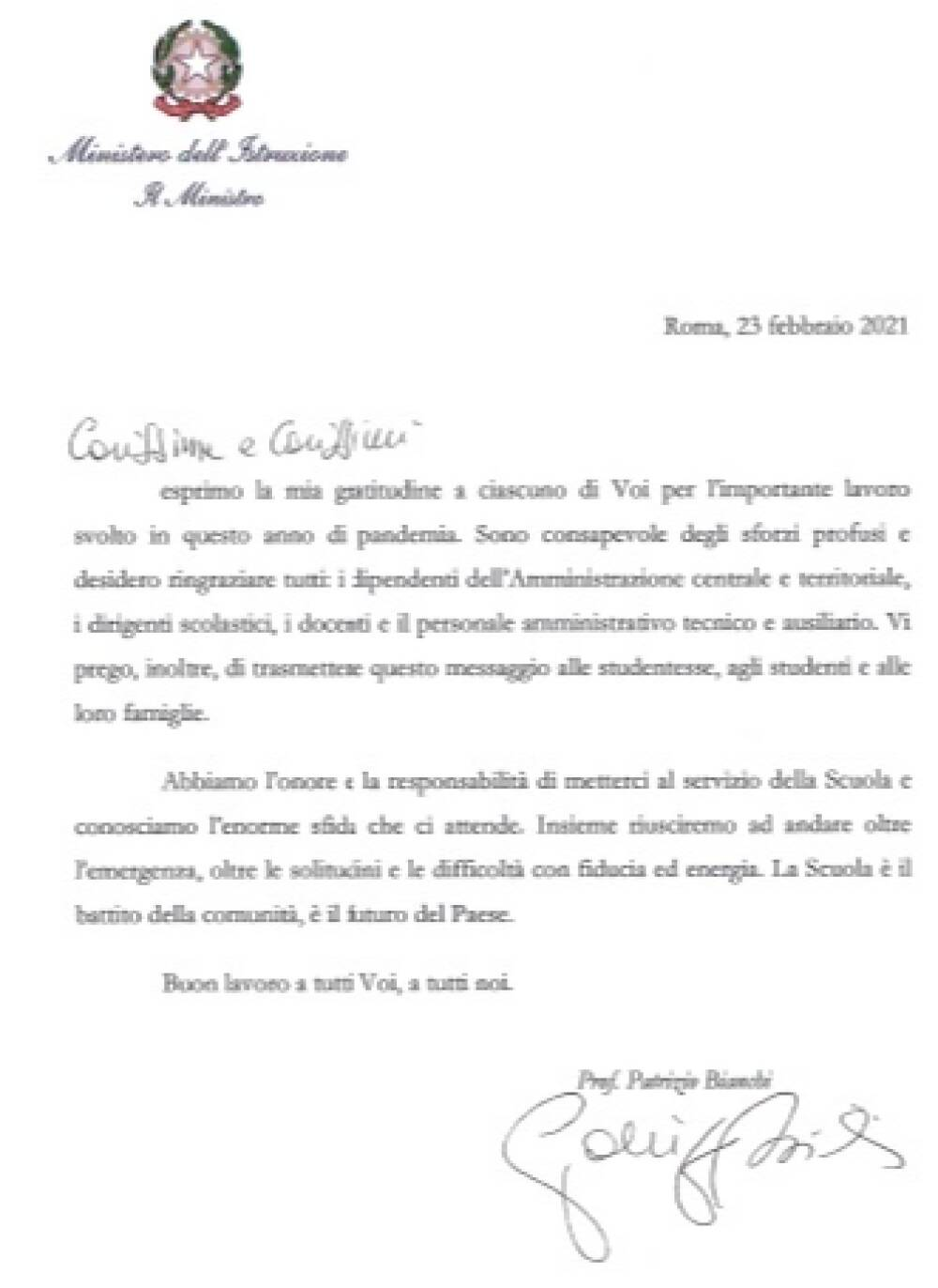 lettera Bianchi